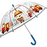 Paraguas Transparente Niño Niña con Bombero y Camión - Paraguas Infantiles 3 4 5 Años Cupula Burbuja Resistente Antiviento -