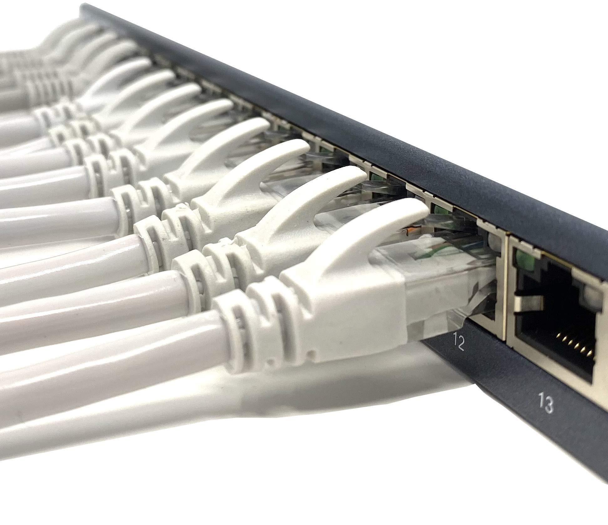 Tronic 25m Cable de Red Plano Ethernet Latiguillo AWG24 Mr CAT6 UTP CCA RJ45 25 Metros, Blanco