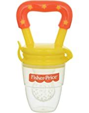 Fisher-Price Food Nibbler with Fruit and Veggie Feed Silicone Mesh, Yellow/Blue