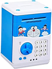 shopjamke ATM for Kids Piggy Savings Bank with Electronic Lock with Music and Automatic Door Open, Battery Operated (Blue) (Yellow)
