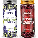 Blue Tea Butterfly Pea Flower (25g) - Certified Organic & Egyptian Hibiscus Flower (50g) Herbal Tea - Combo Pack…