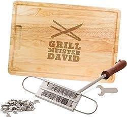 Kitchen Rockstars Grillset – BBQ Brandeisen mit Buchstaben – Schneidebrett – Grillmeister – Personalisiert mit [Namen] - PARENT