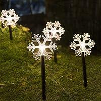 LZLZ LED 5xGartenstecker Schneeflocke Stern Tannenbaum-35 cm hoch-Drinnen und Draussen Weihnachtsbeleuchtung…