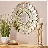 """Alfa Design Wood Frame Venetian Brown Mirror 31.5""""Inch Wall Circle Mirror Round Farmhouse Circular Mirror for Wall Decor Bath"""