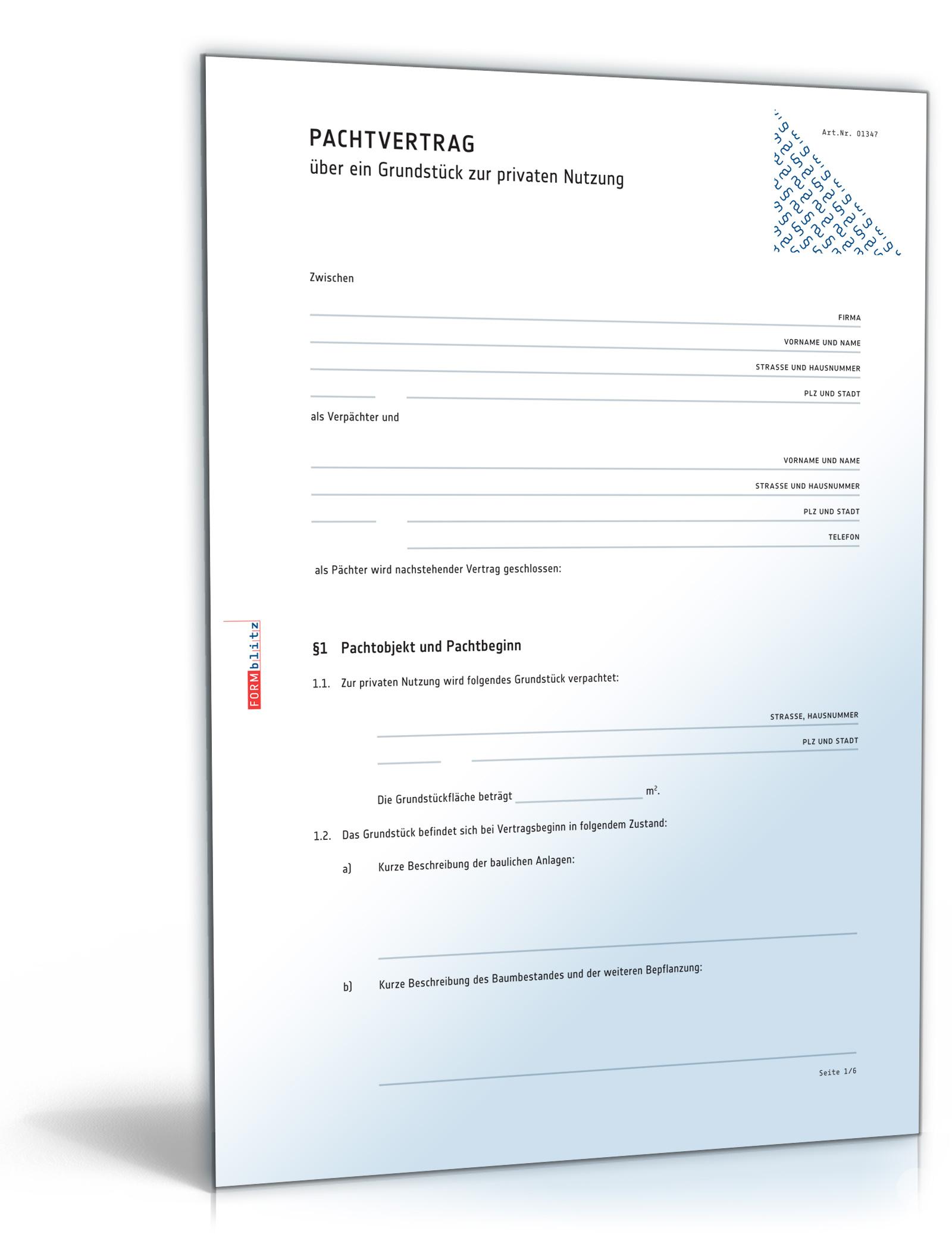 Pachtvertrag Grundstück (PDF) [Download]