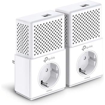 TP-Link CPL AV1000 (Débit 1000 Mbps), 1 Port Ethernet Gigabit, Prise Intégrée Version Européenne, Pack de 2 CPL (TL-PA7010P KIT) Blanc