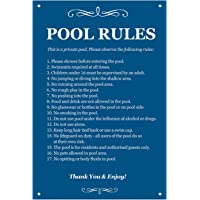 Origin Pool Rules - Black & White/Blue & White Sign for outdoor use with a list of health and safety points about using swimming pool. Ideal for use in holiday accommodation (Blue)