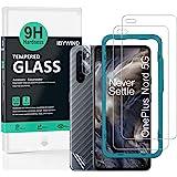 Ibywind Gehard glas-Schermbeschermers voor OnePlus Nord,[Pack van 2],met Cameralens beschermfolie,Back Carbon Fiber beschermf