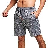 JustSun Mens Running Shorts Gym Sports Shorts Quick Dry Zip Pockets