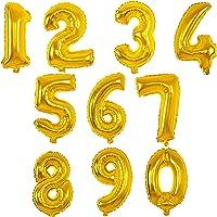 MANUKA Grand Nombre de Ballons à l'hélium Feuille d'or numéro 0-9 Numéro Ballons Hélium Foil Décoration pour Les fêtes d…