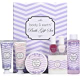 Coffret Cadeau Femme, Body&Earth 8PCS Coffret de Bain et Ongles au Parfum de Lavande, Convient pour l'Anniversaire et la Fête