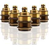 GreenSun LED Lighting 5er Edison E27 Lampenfassung Antique Brass Metall+Porzellan Deckenfassung Fassung Socket Lampenfuss Retro Vintage Halter für Hängeleuchte Deckenleuchte Adapter Beleuchtung Sockel
