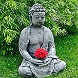 Stein BUDDHA Feng-Shui Steinfigur grau / anthrazit Patiniert massiv Skulptur Garten Deko Frostfrei Neu