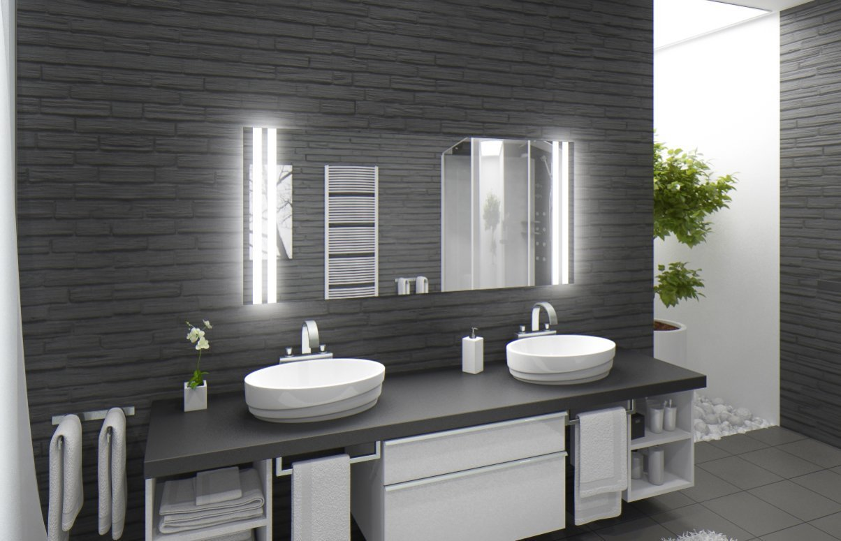 Badspiegel Mit Beleuchtung Manchester M213N2V: Design Spiegel Für Badezimmer,  Beleuchtet Mit Neon Licht, Modern   Kosmetik Spiegel Toiletten Spiegel Bad  ...