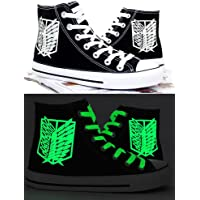 Attack on Titan Shingeki No Kyojin Wings of Liberty Chaussures de cosplay en toile Noir lumineux