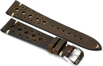 RIOS1931 Rallye - Cinturino per orologio in pelle bovina, realizzato a mano in Germania, robusto, 22 mm, marrone
