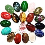 Cuentas ovaladas de piedra de cabujón, piedras semipreciosas de cristal de cuarzo para hacer joyas (color al azar)