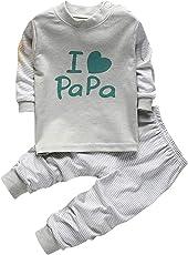 Bold N Elegant I Love Papa Mom Twin Set Little Boy Girl Two Piece Set Full Length Set Tshirt Pant Pyjama Set for Small Baby Kids