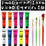 TOYMYTOY UV Glow UV-Licht Makeup Neon Schminke Schwarzlicht Körperfarbe Neon Gesichtsfarbe Fluoreszierende Pinsel und Schablonen