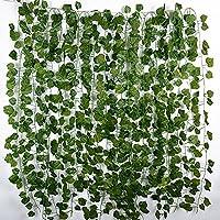 12 Tiras Hojas de Vid 2 m Plantas Artificiales Colgantes Enredaderas Guirnaldas Decorativas para Decoración Fiesta Boda Escalera Pared Exterior