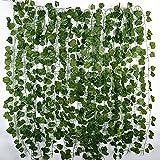 12 Stück Efeu Künstlich Efeu Girlande Efeugirlande Efeu Hängend Rebe Künstliche Pflanzen für Hochzeit Party Garten Wanddekoration (Jede Länge ca. 2 m)