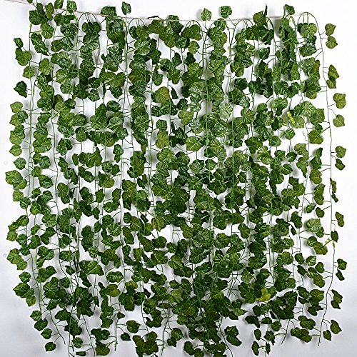 12 tiras plantas artificiales colgantes enredaderas falsas hiedra decorativas guirnaldas hojas de vid para decoracin fiesta - Plantas Colgantes Exterior