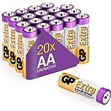 Pilas AA - LR6 - Paquete de 20 | GP Extra | Batería alcalina de Larga duración 1.5v
