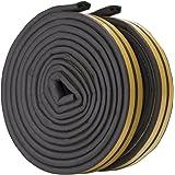 Feelava Deuren, ramen, afdichtingsstrip, 10 m D-type, zelfklevende rubberen schuimafdichtstrip, geluidsisolatie, waterdichte