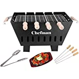 Chefman Small Charcoal Grill Barbeque with 4 Skewers, 1 Grill 1 Tong cooking/ outdoor parties/ picnic/ Grilling food For Heal
