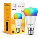 Wipro Wi-Fi Enabled Smart LED Bulb B22 9-Watt (16 Million Colors + Warm White/Neutral White/White) (Compatible with Amazon Alexa and Google Assistant)