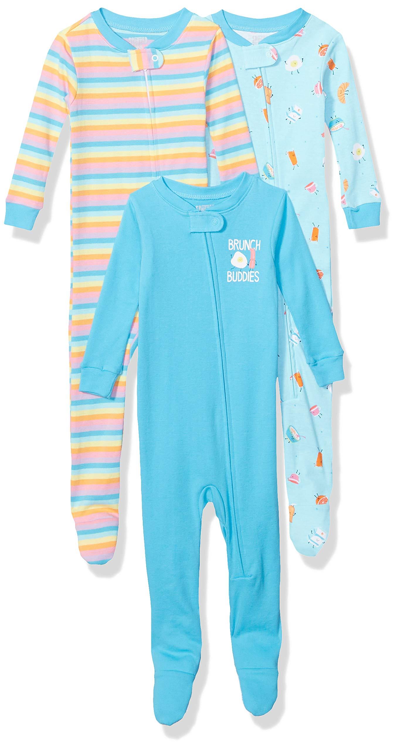 Marca Amazon - Spotted Zebra 3-Pack Snug-fit Cotton Footed Sleeper Pajamas Unisex niños 1