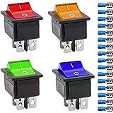 Gebildet 4Pcs Interruptor Basculante Luz Iluminado Rojo/Azul/Amarillo/Verde Boton Interruptor Rocker KCD4, 4 Pines DPST Inter