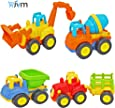JVM Friction Powered Automobile Cars Push and Go Car Construction Vehicles Toys, Tractor / Bulldozer / Dumper / Cement Mixer Early Educational Toys (4 Pieces)