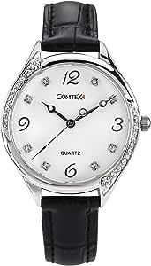 Comtex Orologio da donna analogico al quarzo, in pelle nera con diamanti di cristallo, resistente all'acqua