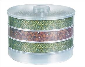 Harikrishnavilla Plastic Sprout Maker Box with 4 Container (Multicolour, SM 551)