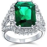 Bling Jewelry 7CT Cubic Zirconia Verde simulato Smeraldo Taglio Moda C 'CC- Cushion Cuovio Cocktail Dichiarazione Anello per