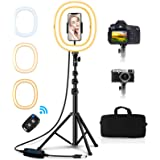 """Babacom 10.2"""" Selfie Ring Light con Treppiede & Supporto Cellulare, Portatile Pieghevole Luce Tik Tok, 3 Modalità Colore, Tel"""