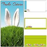 12-er Set Osterkarten HASENOHREN mit Umschlag - edle & lustige Frohe Ostern Grußkarten im DIN lang Format für Privat und Geschäft von BREITENWERK