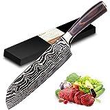 Joyspot Couteau de Cuisines, Couteau Japonais Santoku,17cm Professionnelle Couteau de Chef en German Haute Teneur Acier Carbo