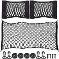 QLOUNI 2 stuks kofferbak-nettassen en 1 stuks kofferbaknet, nylon nettas met klittenbandsluiting, universeel bagagenet in kof