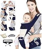 Azeekoom Babytrage Ergonomische, Kindertrage mit Hüftsitz, Befestigungsgürtel, Lätzchen, Schultergurt, Kopfbedeckung für…