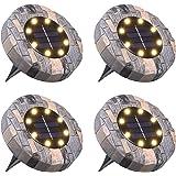 Lámpara Solar para Césped,Tomshine 4 Pack 8 LEDs Luces Solares para Jardín,IP65 Impermeable,Luz Enterrada,Focos Solares LED p