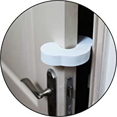 Safe-O-Kid Fit All Strong EVA Finger Pinch Door Guard (Pack of 4, White)
