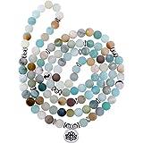 Mala Amazonite - Collana da 8 mm, con perline in pietra naturale con 108 perline rotonde per uomini e donne