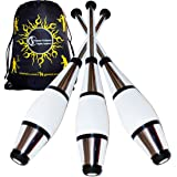 Gold 3 x Juggle Dream Euro Clubs Great Beginner to Intermediate Juggling Clubs with Cascade Juggling Bag