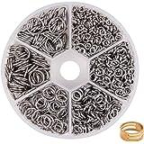 PandaHall Elite 1 Caja 4/5/6/8/9/10 mm Mixto 304 Acero Inoxidable Abierto, Anillos para bisutería, Alrededor de 1000 Piezas e