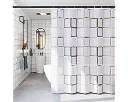 Cortina de Ducha,180*200 Cortinas de Ducha Baño,ortina de Ducha para baño de Agua 3D Transparente, Impermeable,Gancho con 10