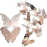 Autocollant mural de papillon 24 pièces, Stickers muraux mixtes de papillons 3D, Autocollants muraux Vivid Flash pour la mais