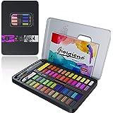 Honmax Akvarellfärg, akvarellfärgset 48 färger, vattentank, borste, ritpenna, akvarellpapper, vattenabsorberande svamp, vit f