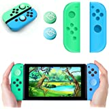 Joy-Con Silicone Cover and 2PCS Thumb Grip Caps for Switch, L/R Gel Guards Skin Joy-Con Case with Joystick Caps Leaf Crossing